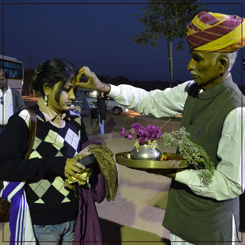 Warm Welcome By The Staff Of Osian Resort Camps In Rajasthan.