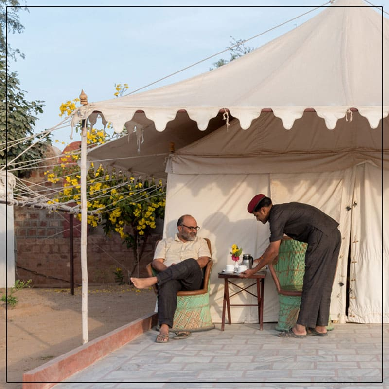 Enjoy the morning breakfast in the middle of the thar desert Rajasthan